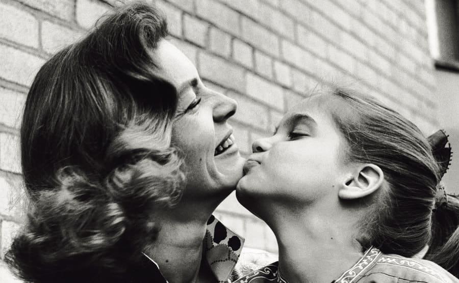Lauren Bacall in a tender moment with her daughter Leslie.