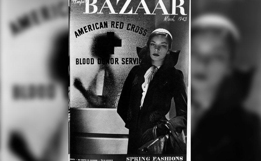 Lauren Bacall is on the cover of Harper's Bazaar.