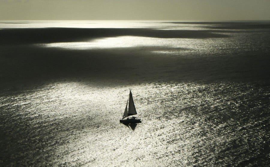 A ship in the open sea.
