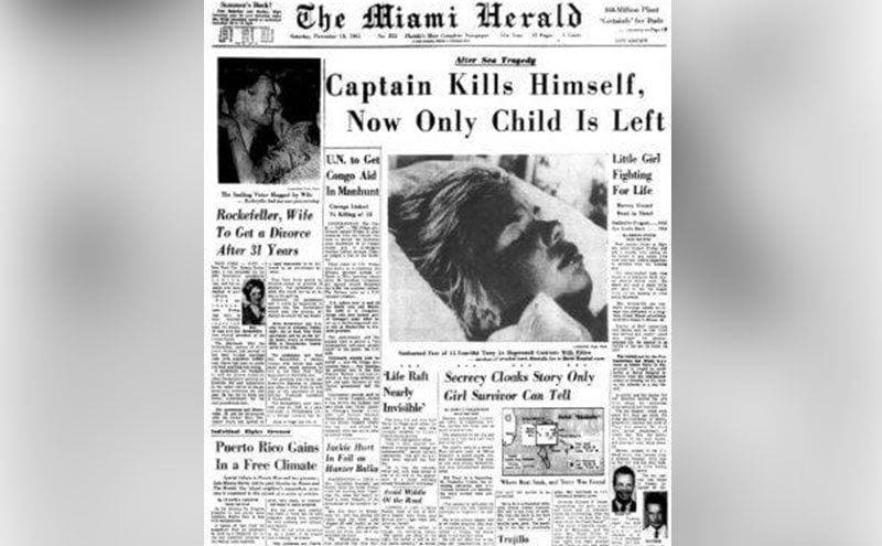 A newspaper clipping titled 'Captain Kills Himself, Now Only Child Is Left.'