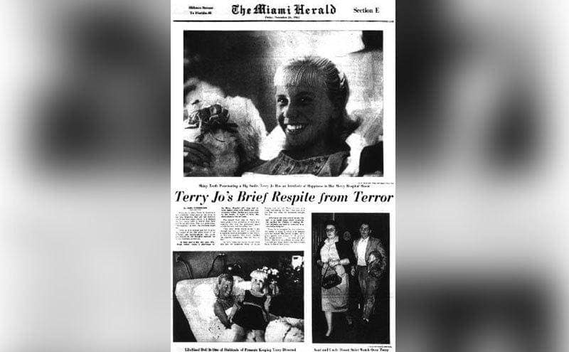 A newspaper clipping on Terry Jo's survival story.