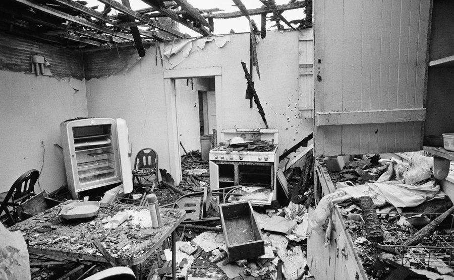 The ruins of an SLA house after an LAPD intervention.