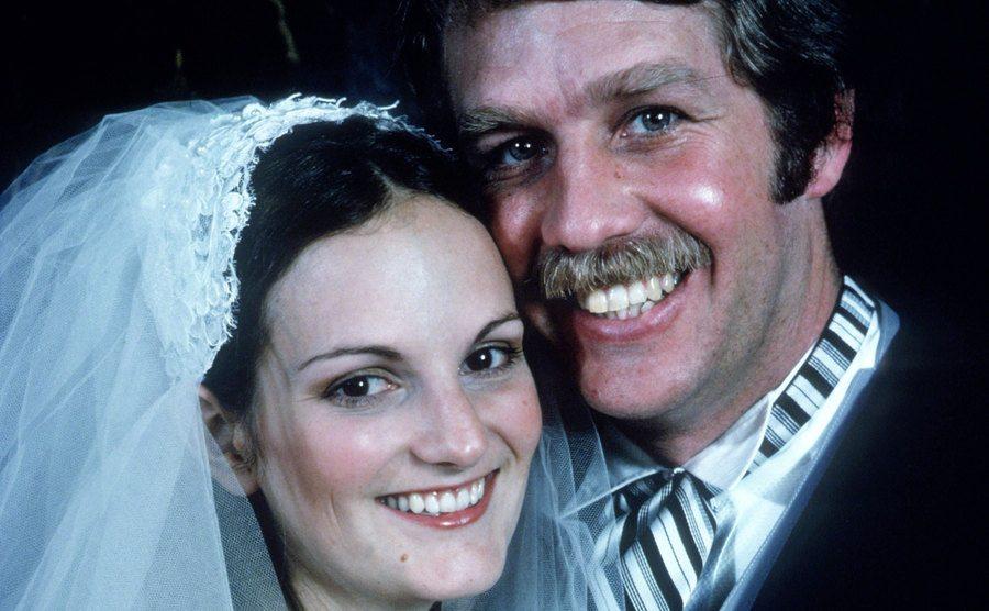 A wedding portrait of Patty and Bernard.
