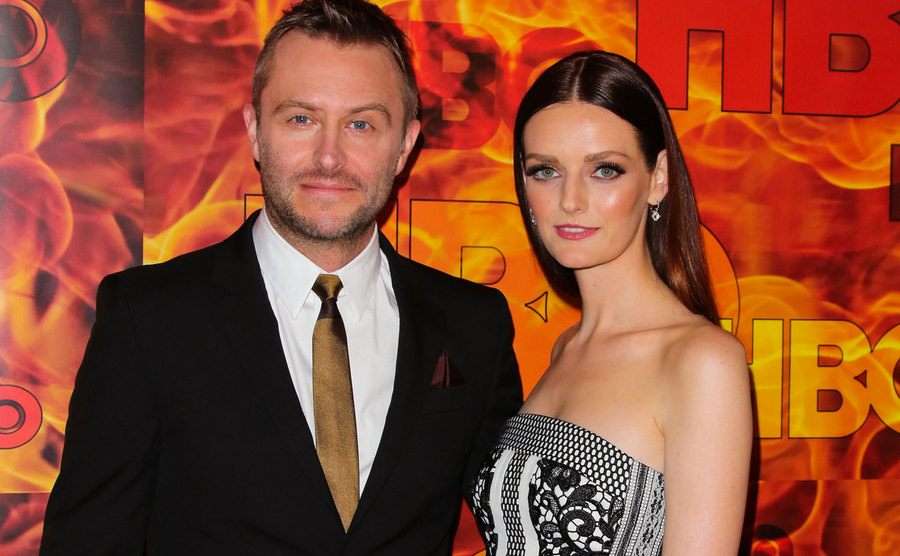Chris Hardwick and Lydia Hearst attend an event.
