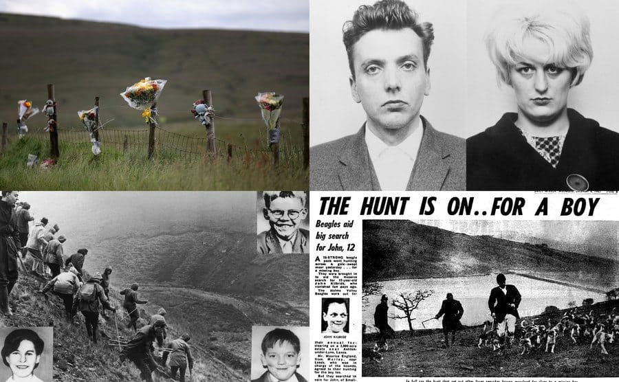 Saddleworth Moor / Ian Brady, Myra Hindley / A group of search / A newspaper clipping.