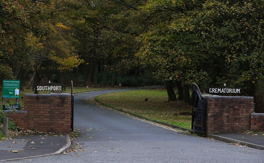 The entrance to Southport Crematorium in Southport.