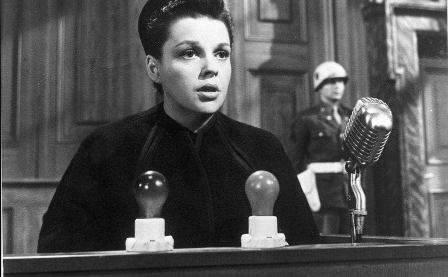 Judy Garland in a scene from Judgment at Nuremberg.