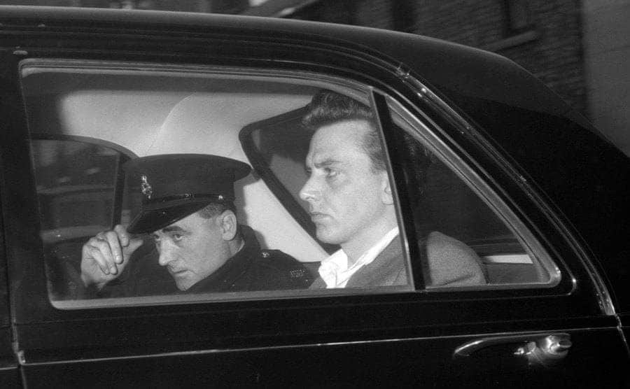Ian Brady in the back of a police car.