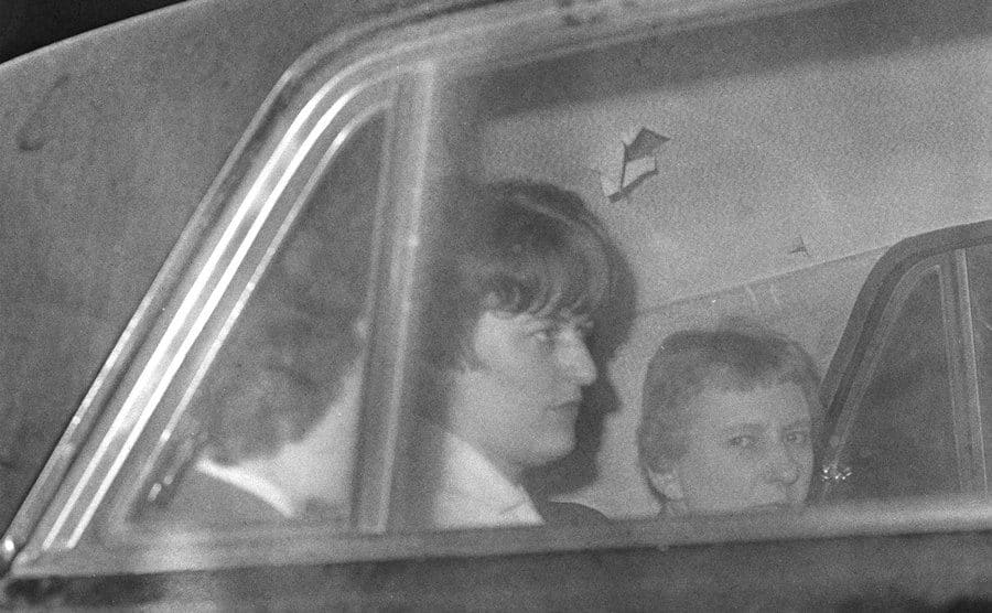 Myra Hindley in the back of a car in transit to prison.