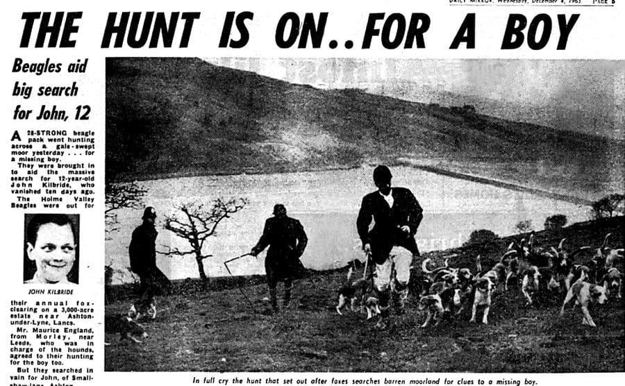 Newspaper clipping on John Killbride's disappearance.