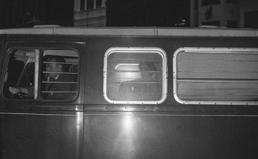 A police van at night.