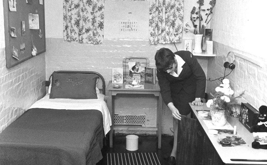 A cell in the women's prison at Holloway.