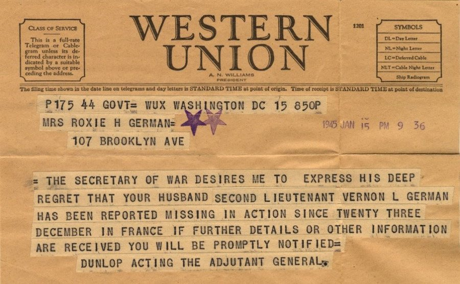 A view of the telegram sent to German's wife.