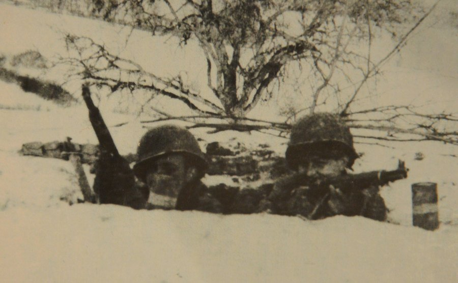 Soldiers during the actual fighting.
