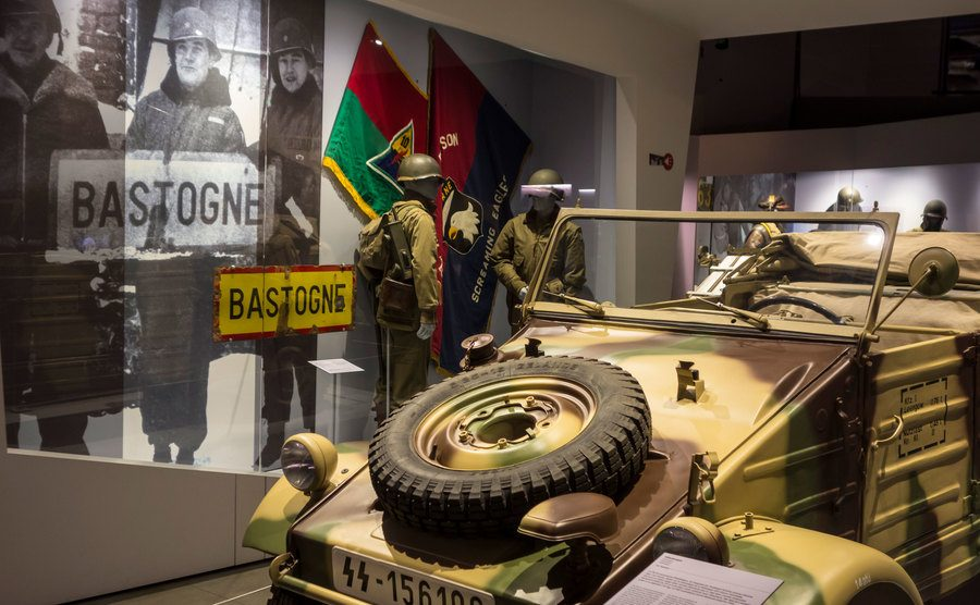 A view of the German war vehicle in the museum.