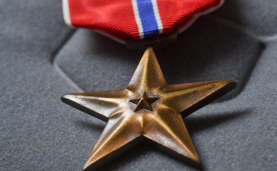 A bronze star medal from a war veteran.