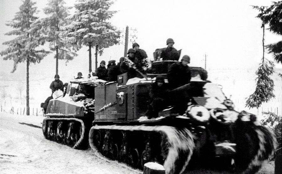 A tank convoy through the Ardennes.