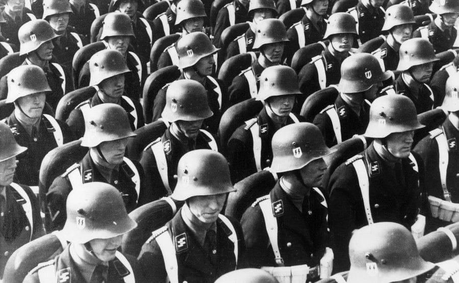 Rows of German troops in Germany.