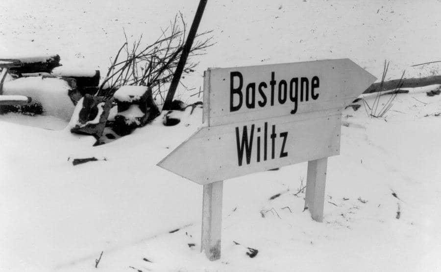 A sign that reads ''Bastogne Wiltz.''