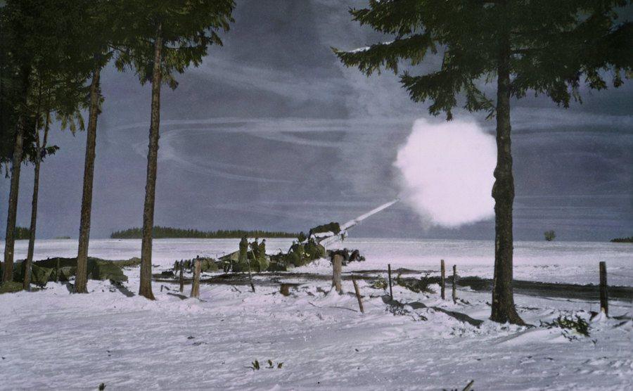 A snowy battlefield in Ardennes.