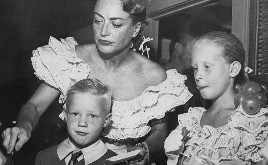 Joan Crawford with her children Christopher and Christina.