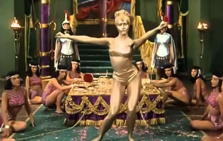 Julie Newmar painted in gold in Serpent of the Nile.