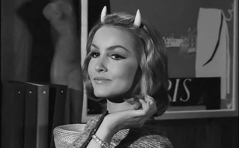 Julie Newmar in The Twilight Zone with horns on her head.