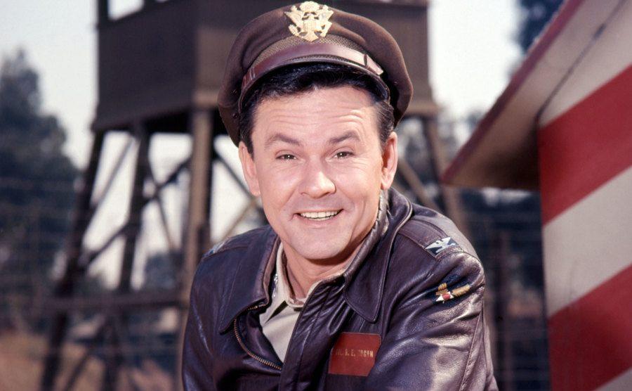 Bob Crane is posing as Colonel Robert E. Hogan in the show Hogan's Heroes.