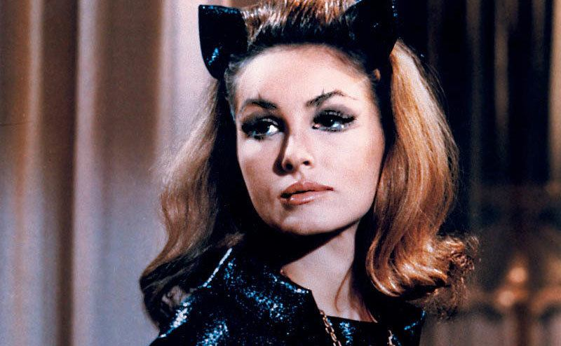 Julie Newmar dressed as Catwoman.