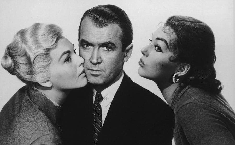 James Stewart as a Detective and Kim Novak playing the dual role of Madeleine/Judy.