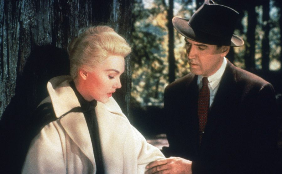 Kim Novak and James Stuart in a scene from the film.