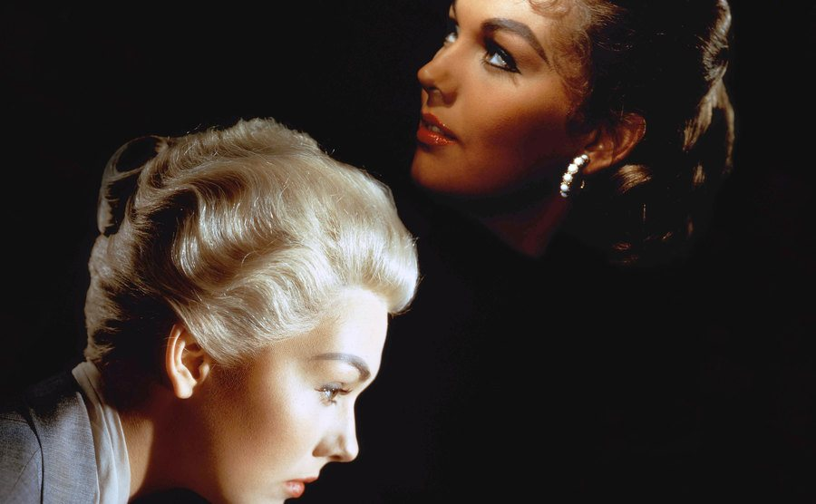 A picture of Kim Novak playing two roles.