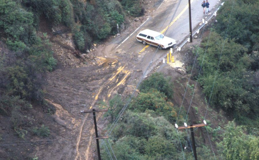 An aerial view of the mudslides in California.