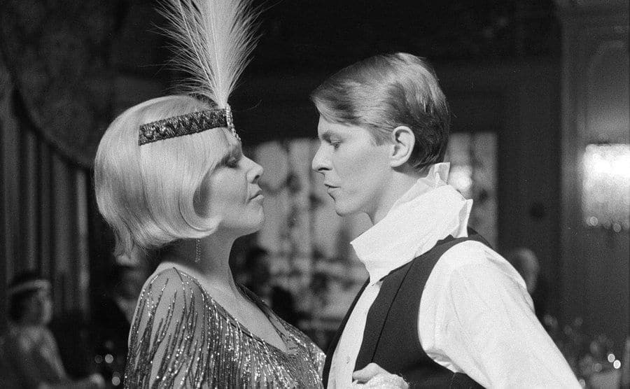 Kim Novak and David Bowie in a scene from the film.