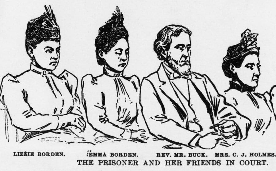 An illustration of Lizzie Borden and her friends in court.