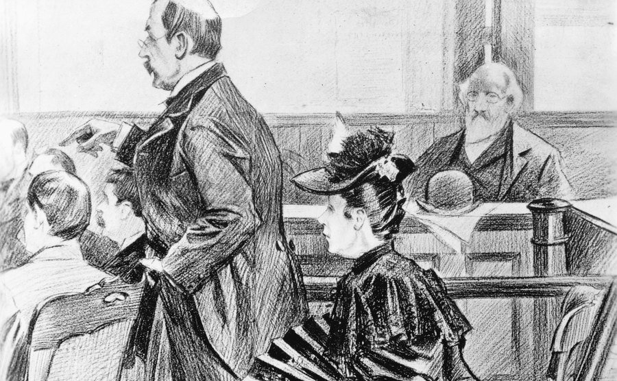 A drawing of Lizzie Borden and her lawyer in court.