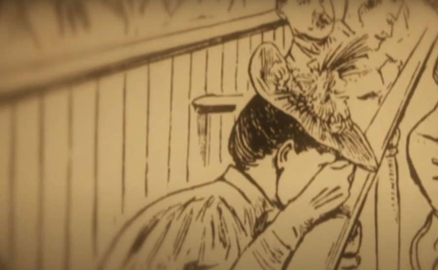 An illustration of Lizzie crying in court.
