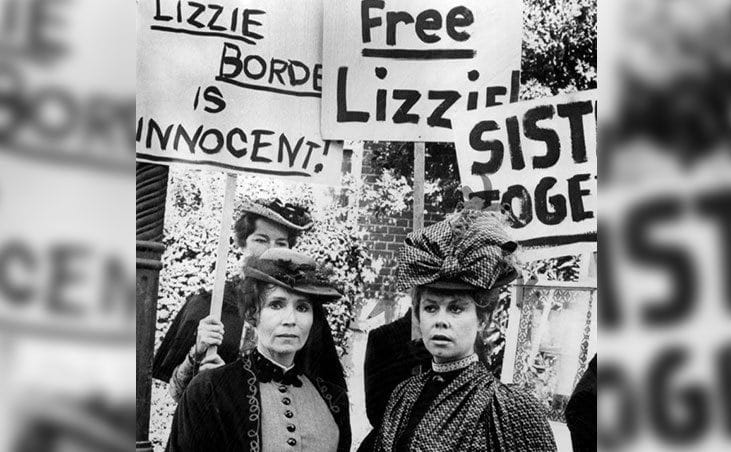 Protesters supporting Lizzie stand outside the court.