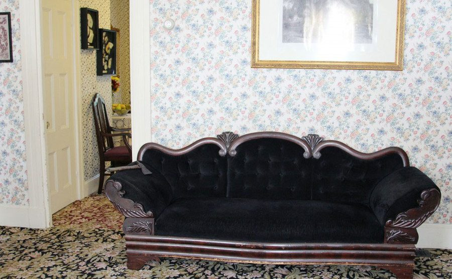 A view of the sitting room of the crime scene.