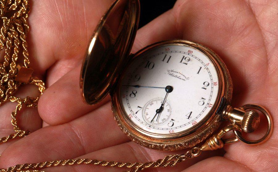 A golden watch that belonged to Lizzie Borden.