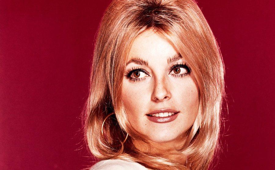 A portrait of Sharon Tate glancing over her shoulder.