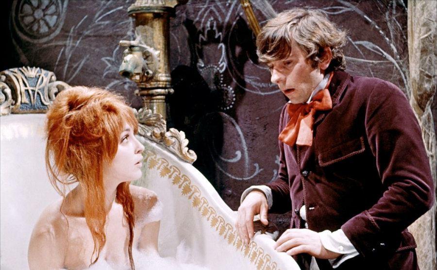 Roman Polanski and Sharon Tate on the set of Roman's film.