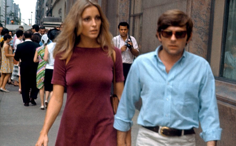 Sharon Tate and Roman Polanski walking on the streets of New York.