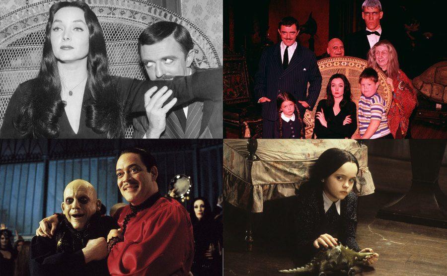 Carolyn Jones and John Astin / The Cast of the Adams Family TV show / Christopher Llyod and Raúl Juliá / Christina Ricci