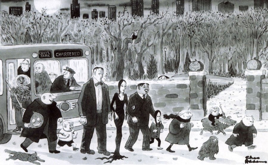 A cartoon drawing of the Addams family taking public transportation.