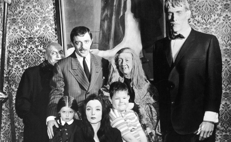 The cast of The Addams Family TV show.