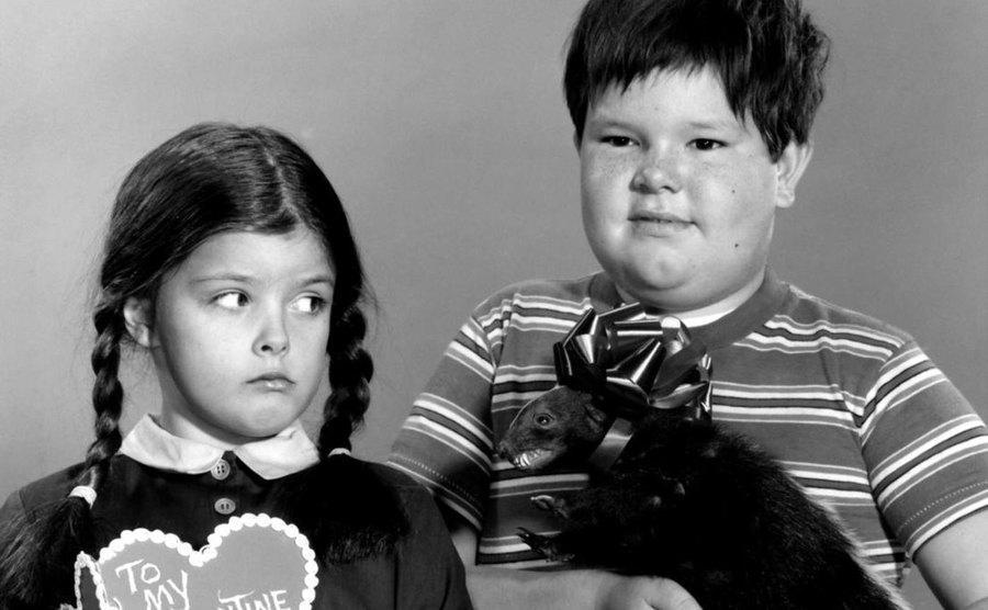 Lisa Loring and Ken Weatherwax, as Wednesday and Pugsley Addams.
