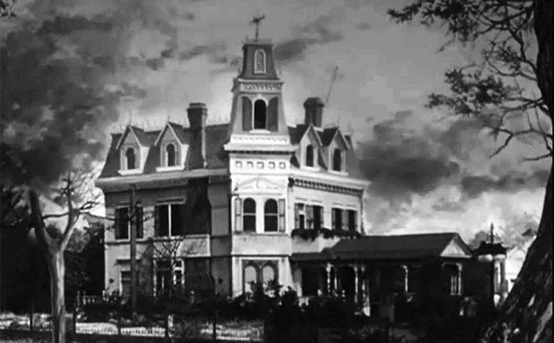 An exterior view of the Addams family home.