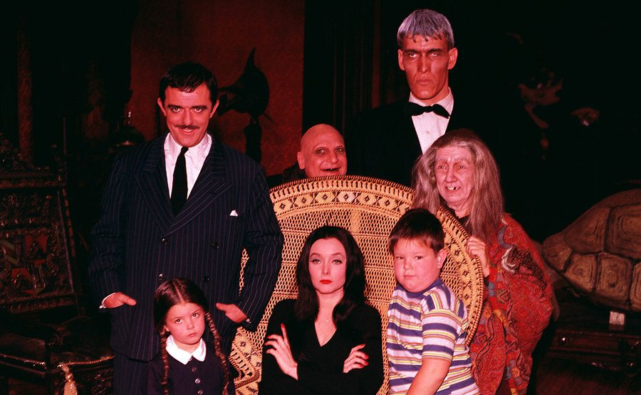 A group photo of The Addams Family cast.