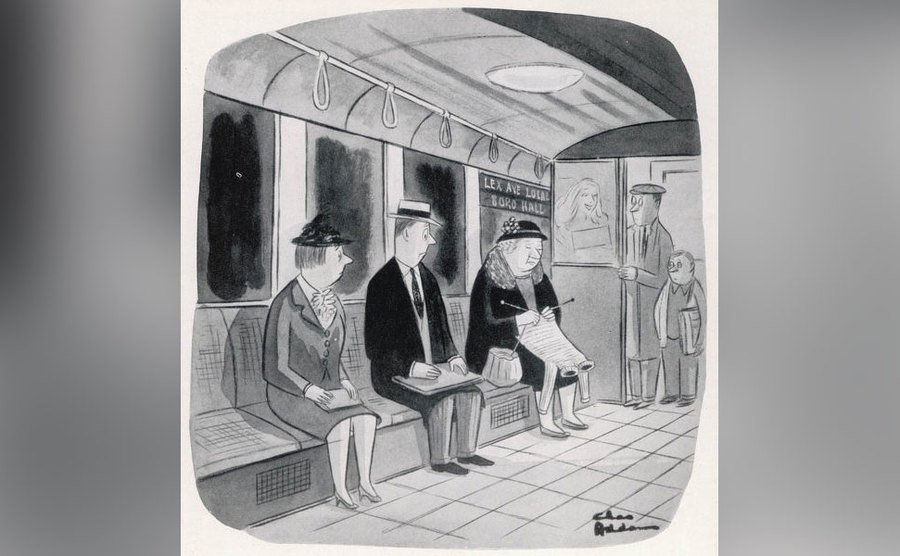 A Charles Addams cartoon of a woman knitting a two-headed sweater on the subway.